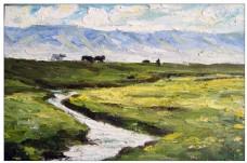 平原上的河流油画图片