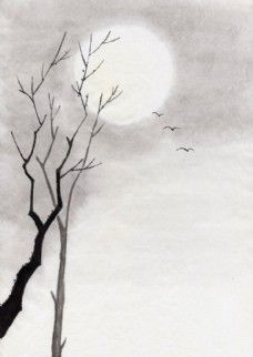 枯树大雁图图片