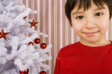 圣诞树旁的可爱男孩图片
