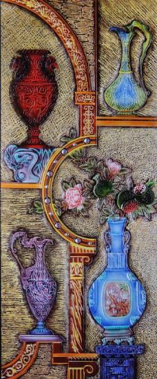 抽象花瓶装饰背景墙