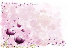 粉色花元素背景墙