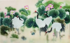 荷花白鹤装饰画