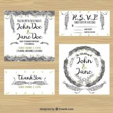 收集婚礼卡片与手绘装饰