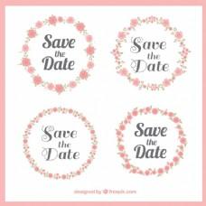 套漂亮的婚礼花环贴纸