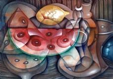 西瓜水果油画写生图片