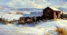 冬天雪地小木屋风景油画图片