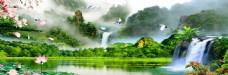 瀑布风景装饰画
