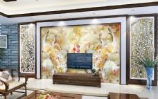 金碧辉煌电视背景墙设计素材