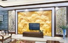 岩石玉雕效果电视背景墙设计素材