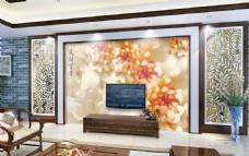 金黄色玉雕电视背景墙设计素材