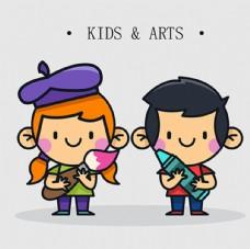 儿童节快乐学美术的孩子