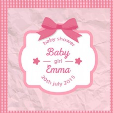 粉色复古母婴儿童宝宝沐浴卡
