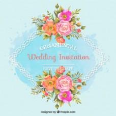 婚礼邀请与装饰框架和水彩花
