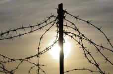 太阳与围栏图片