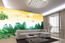 荷花自然风景背景墙