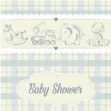 带玩具的婴儿淋浴卡