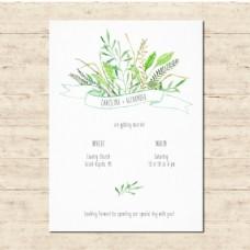 可爱的婚礼邀请与花卉元素