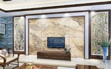 欧式大理石砖电视背景墙设计