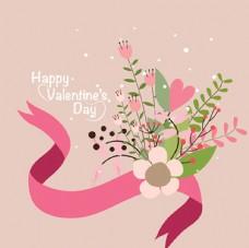 情人节快乐花卉丝带