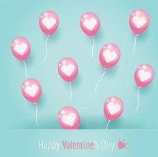 红心气球情人节快乐背景