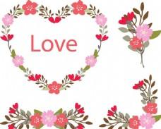 情人节快乐花卉元素