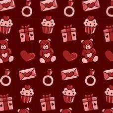 泰迪熊礼物情人节快乐背景