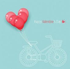 自行车气球情人节快乐海报