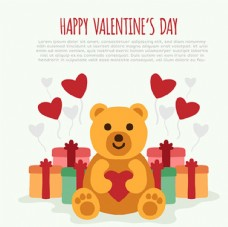 泰迪熊和礼物情人节快乐海报