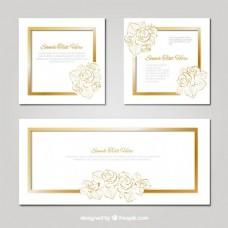 包婚礼卡片与黄金花细节