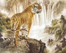 国画老虎与山水图片