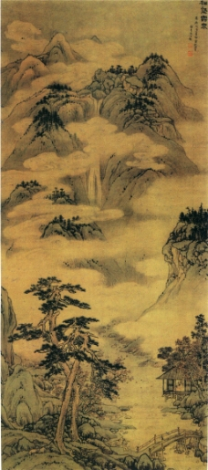 松壑云泉图装饰画