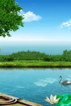 湖面风景装饰画