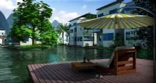 别墅游泳池景观图片