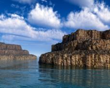 海面石壁风景图片