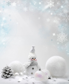 雪花与圣诞球图片