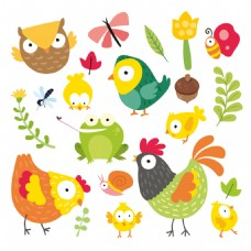 一组小动物可爱卡通元素