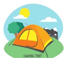 白天的野营帐篷矢量素材