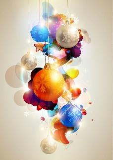 发光七彩圣诞球背景