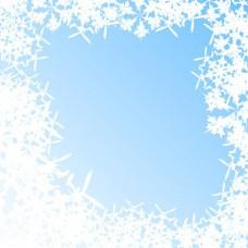 蓝色抽象背景与雪花