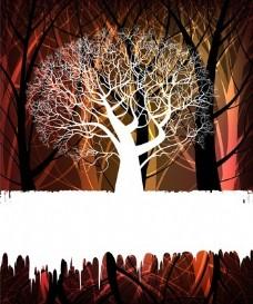 树的剪影背景