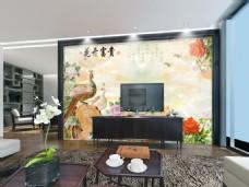 孔雀中国画电视背景墙设计素材