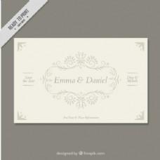 带有装饰框的结婚卡