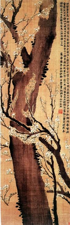 树枝叶与花国画图片