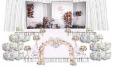 婚礼效果图 白色 布置 花门 背景