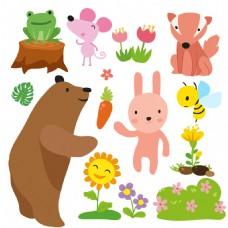 一组可爱卡通小动物素材
