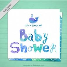 手绘婴儿淋浴卡