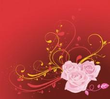 粉色与红色和黄色的玫瑰漩涡背景