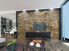 深色大理石电视背景墙素材