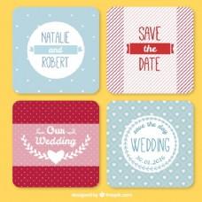 带条纹和圆点的漂亮婚礼卡片