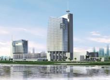 办公大楼建筑透视效果图片